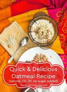 3 + 5 Minutes Delicious Oatmeal (natural, GF, DF, no sugar added)