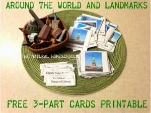 Around the World and Landmarks FREE 3-part Cards Printable and Lessons