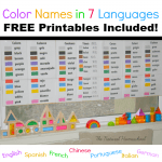 Learn Color Names in Seven Languages with Free Printables
