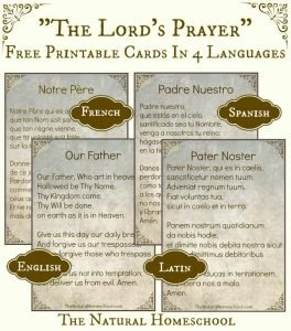 The Lord's Prayer Words in Spanish, Latin, English and French {Free Printable}