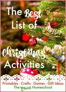 The Best List of 24 December Activities {Free Printables}