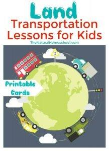 Land Transportation Lessons for Kids {Printable 3 Part Cards}
