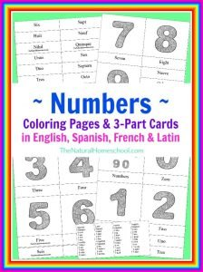Number Coloring Pages & 3 Part Cards in 4 Languages {Printable}
