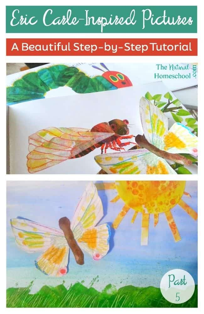 What better way to study his art than to cover texture step-by-step, using Eric Carle picture books for the picture study and for wonderful inspiration? Take a look at how our picture comes together.