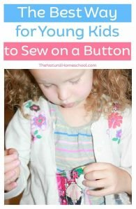The Best Way to Sew on a Button {for kids} with printable instructions card
