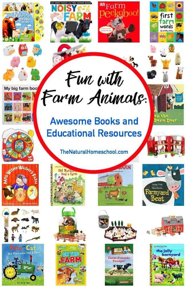 We went online and got some great deals on more farm animals books and it got me thinking to share a neat list of books and resources with you! They are set up by age.