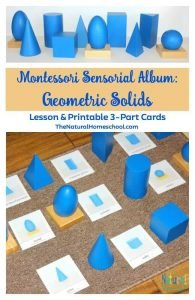 Montessori Sensorial Album: Geometric Solids {5 Lessons & Printable 3-Part Cards}