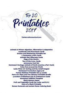 Top 20 Printables from The Natural Homeschool 2017