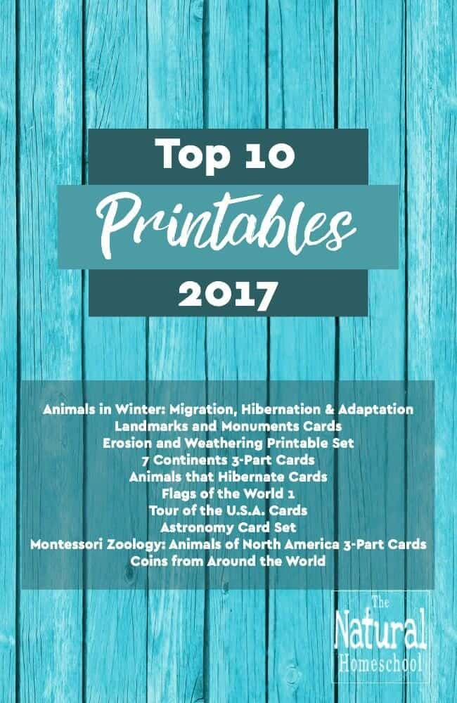 Top 10 Printables from The Natural Homeschool 2017