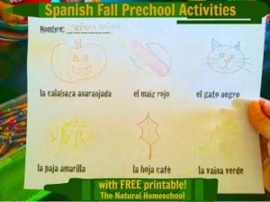 Spanish Fall Preschool Activities with FREE PRINTABLE!