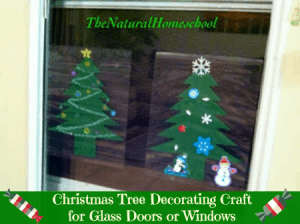 Christmas Tree Decorating Craft for Glass Doors or Windows