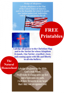 Free Printables. Pledge of Allegiance (American Flag, Christian Flag, Bible)