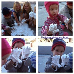 Make Your own Sensory Play Snow! 2 ingredient Recipe