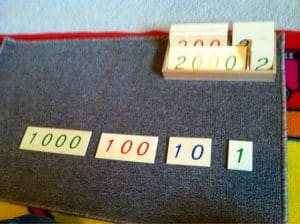 Montessori Math: Large Number Cards and Golden Beads Tray