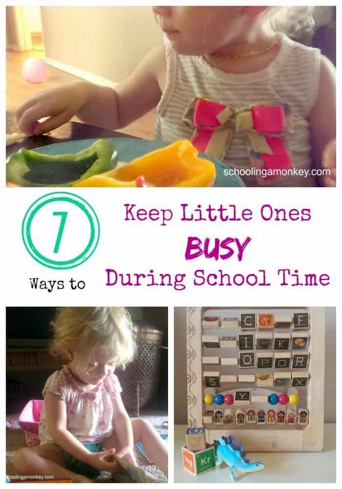 Here is a list of activity ideas on what we do to occupy your toddler while homeschooling!