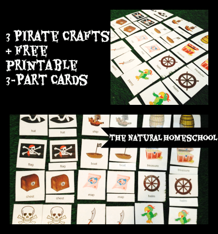 Free Pirate Printable 3-part cards