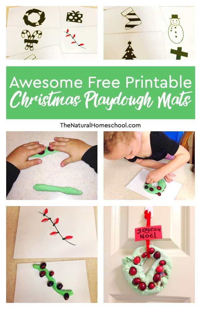 I am so happy to share these free printable Christmas playdough mats with you!