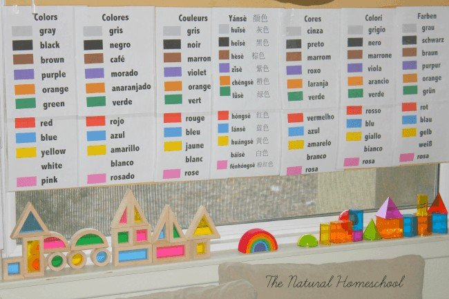 Color Names in 7 languages free printables