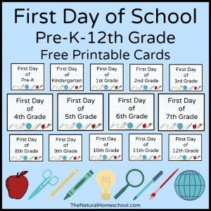 First Day of School – Back to School Printable Cards by Grade