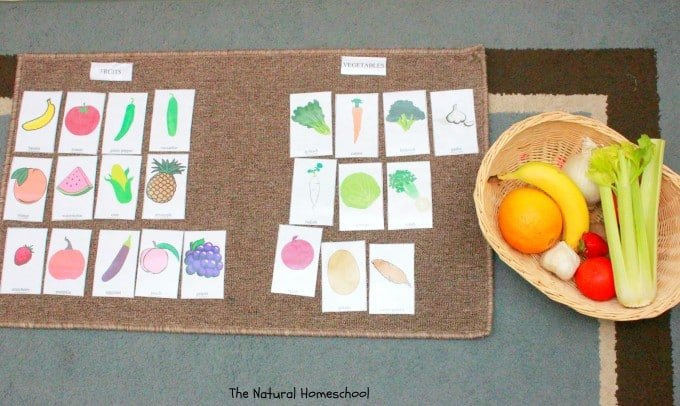 Naming, Sorting, Coloring & Matching Fruits & Vegetables {Free Printable}