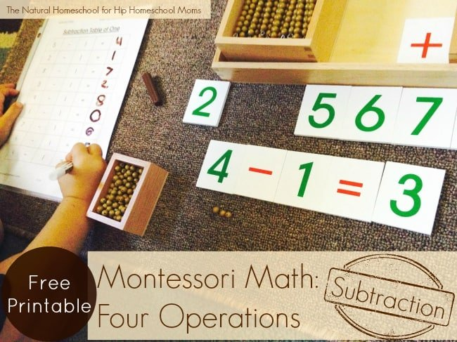 Four Operations: Subtraction {Montessori Free Printable}