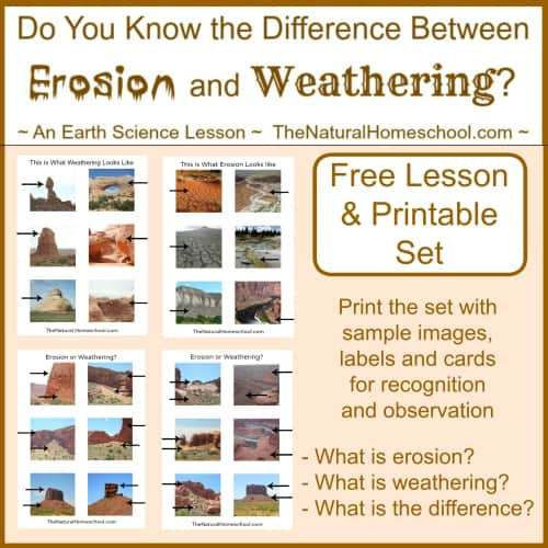 What is the Difference between Weathering and Erosion? {Free Printables}