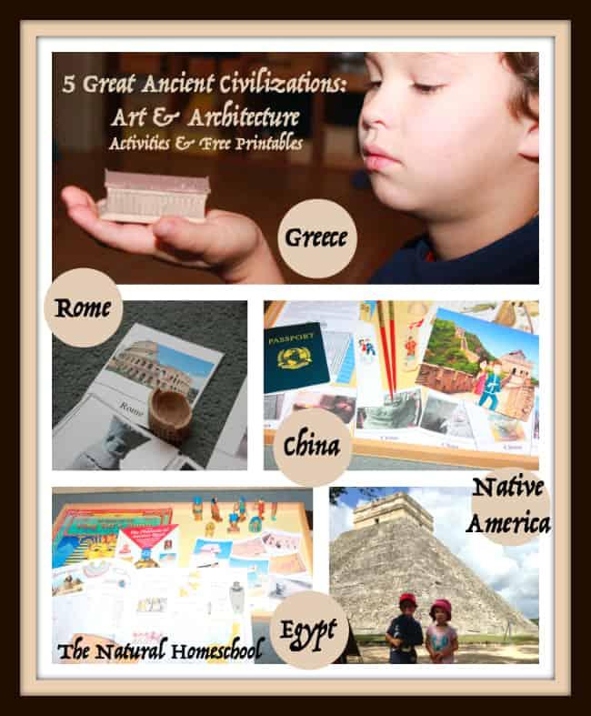 5 Great Ancient Civilizations free printable art activities kids