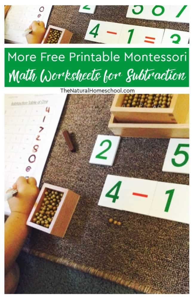 Simply take a look at our other subtraction lessons and then take a look at more free printable Montessori Math worksheets for subtraction here!
