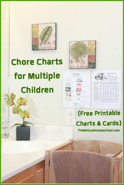 In this post, you will see two kinds of chore charts for multiple children with some free printable charts and cards.