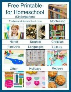 Free Printables for Homeschool (Kindergarten) List
