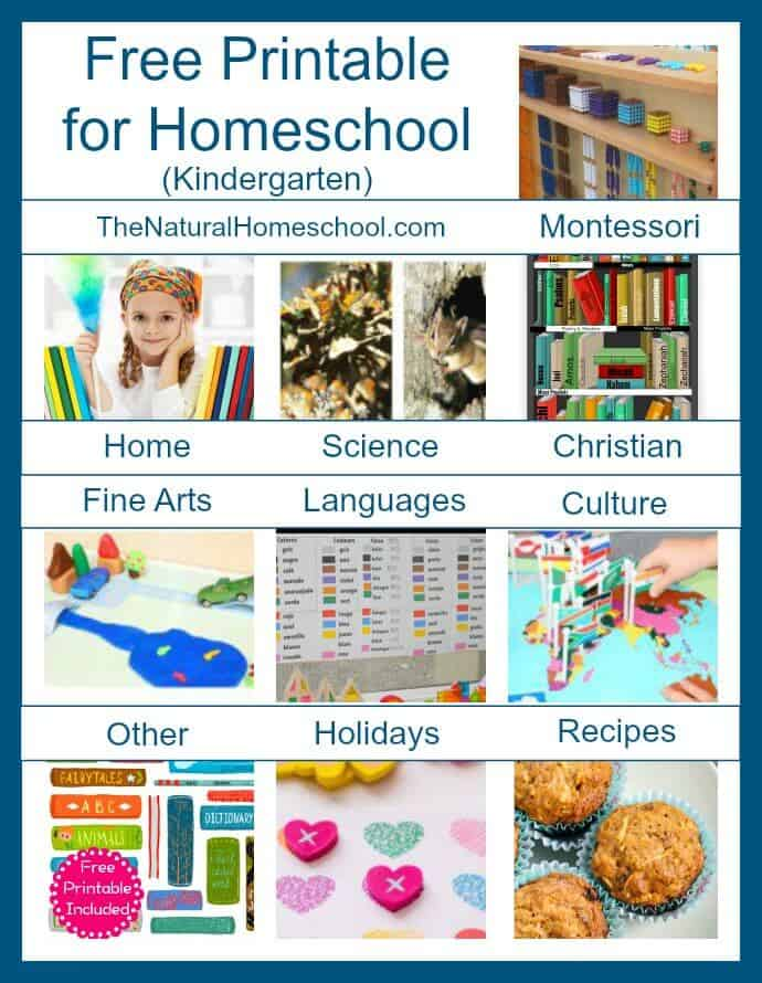 Free Printables for Homeschool (Kindergarten) List