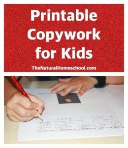 Printable Copywork for Kids