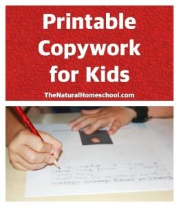 Printable Copywork for Kids