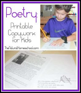 Poetry: Printable Copywork for Kids