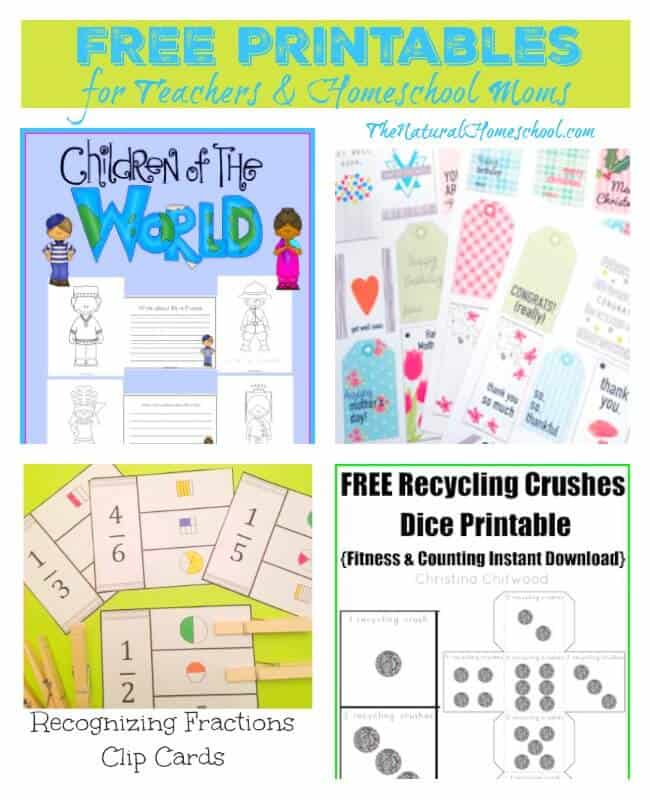Free Printables for Teachers & Homeschool Moms