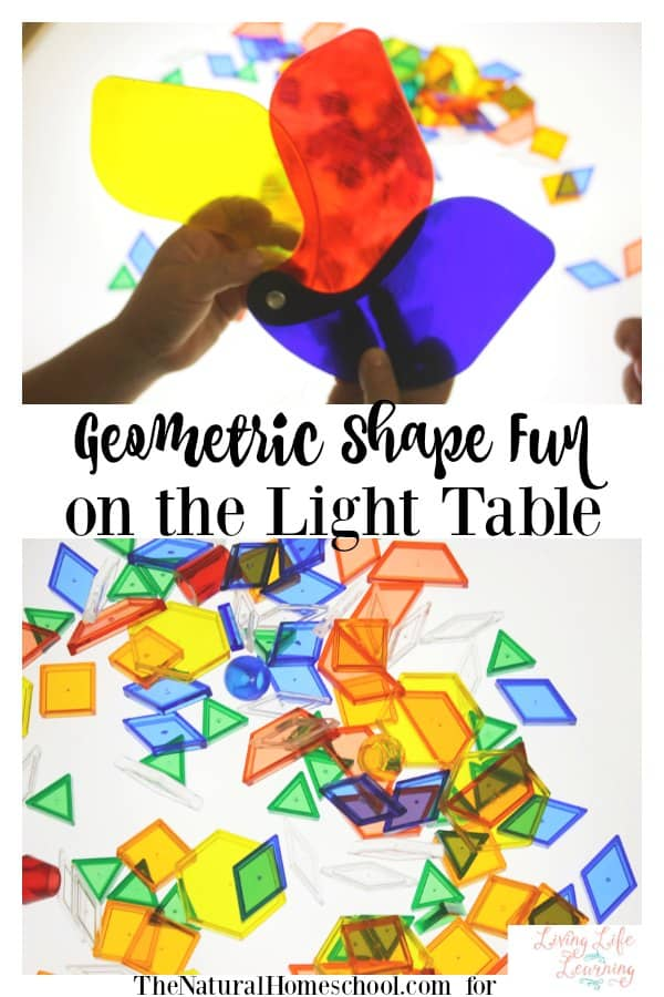 We are excited to be sharing with you the geometric shape fun on the light table that we had this month. It was fascinating to watch them learn.