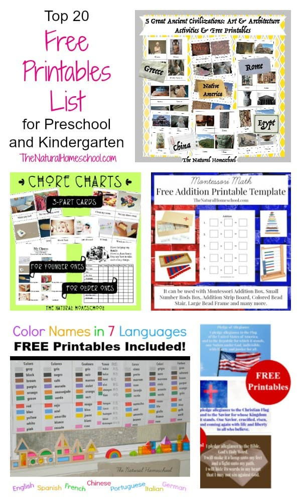 Top 20 Free Printables List for Preschool and Kindergarten