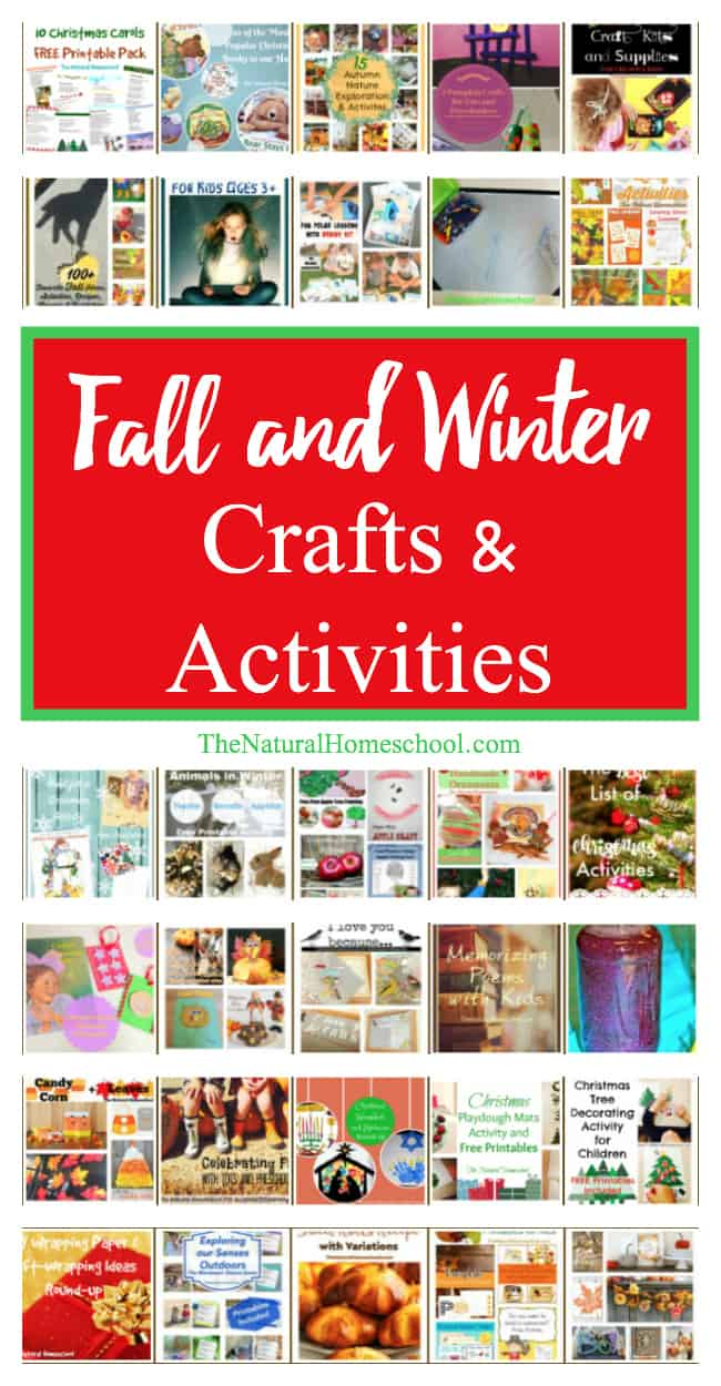 Here, you will find all of our Fall and Winter Crafts and Activities for Kids! Some are super hands-on activities, some are crafts and some have free printables that go well with these two wonderfully fun seasons.