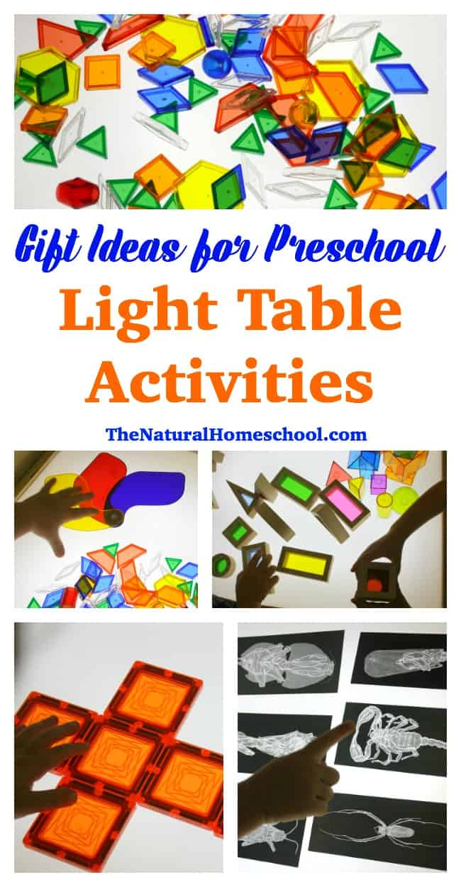 Gift Ideas for Preschool Light Table Activities