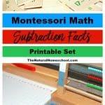 Montessori Math Subtraction Facts - Presentation and Printable
