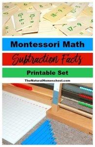 Montessori Math Subtraction Facts – Presentation and Printable