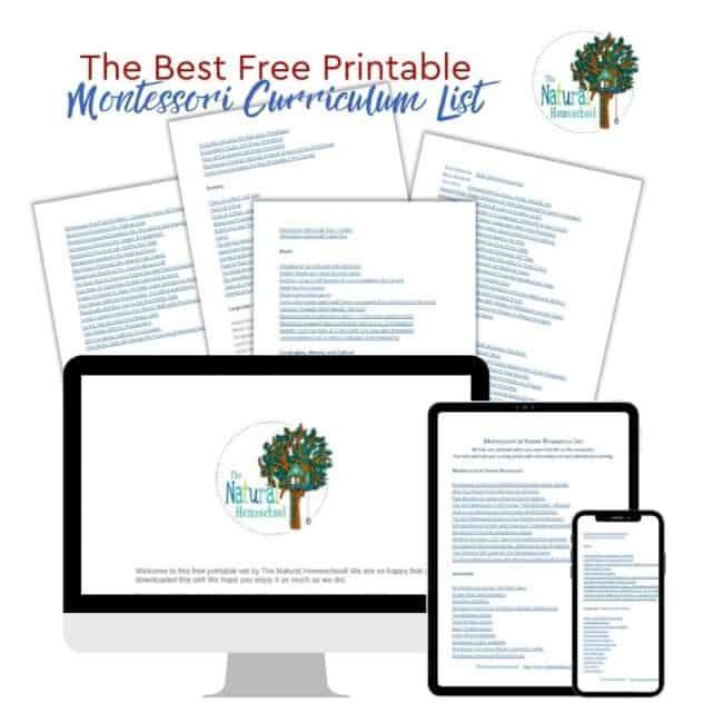 free Montessori curriculum list