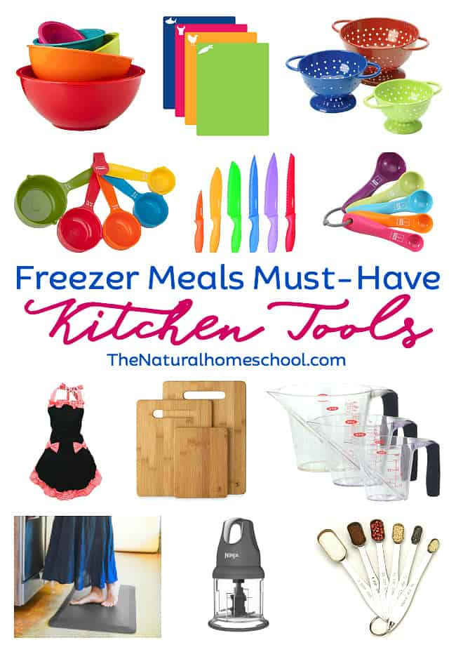 In this post, I am sharing with you must have kitchen items list that will make freezer meals easy to ensemble and actually, any meal! So take a look and see how pretty and helpful they are!
