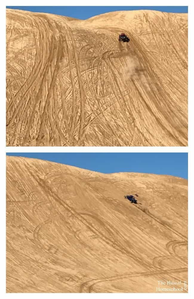 We love the concept of learning about how things work. When we go to the desert to camp for a few days, we wonder how many of the razors and the sandrails make it up the tall sand walls! Well, the last time we went there, we made a lesson out of it! We learned about the physics of the inclined plane!
