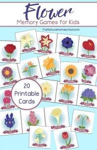Flower Memory Games for Kids (Printable)