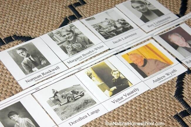 This is an awesome activity that mixes History and Art because it includes a free printable Art History timeline and list of famous modern artists!