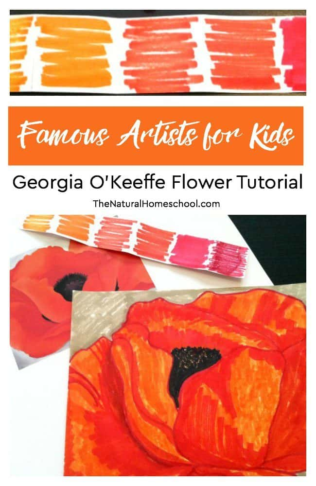 In this post, we are going to do another Famous Artists for Kids study by learning how to paint flowers like Georgia O'Keeffe.