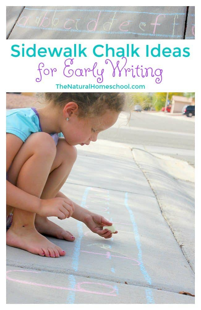 In this post, we will share with you some awesome sidewalk chalk ideas for early writing! My daughter enjoyed not only reviewing her alphabet letter names and sounds, but she also loved practicing writing the letters.