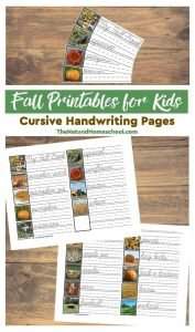 Fall Printables for Kids – Cursive Handwriting Pages