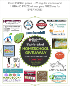 Join us for a Homeschool Giveaway! (Sept 6-9, 2017)